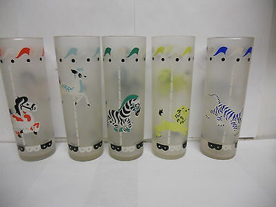 Vintage Libbey Carousel Circus Animals  Frosted Tall Glass Tumblers Set of 5
