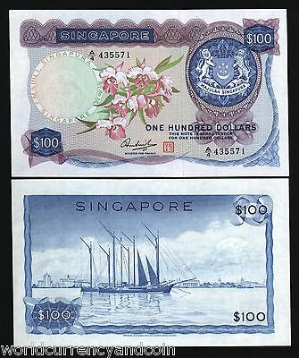 Singapore $100 P6D 1973 Orchid Sailing Ship Hss Scarce Au Brunei Bank Note