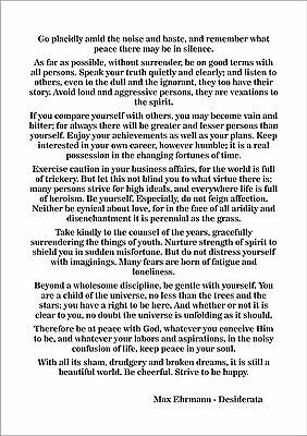 picture about Desiderata Printable known as MAX EHRMANN - Desiderata - Poem - Print Poster A4