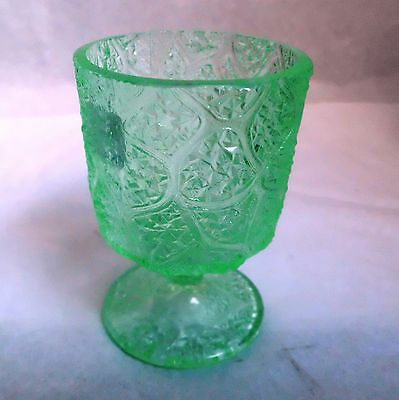 """TREE OF LIFE 3 1/8"""" TALL TOOTHPICK BY PORTLAND GLASS CO - GREEN - 1870"""