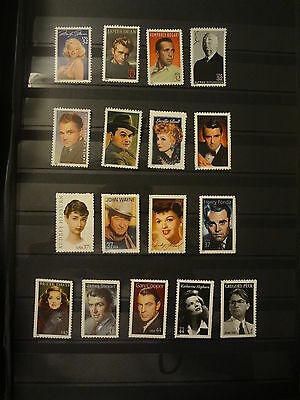 A Complete Set Of 17 Legends Of Hollywood Stamps