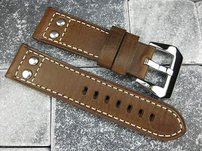 22mm Aviation PILOT Style Button Leather Strap Band Brown NAVITIMER 22