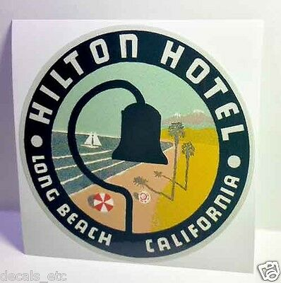 Hilton Hotel Long Beach Vintage Style Travel Decal / Vinyl Sticker,Luggage Label