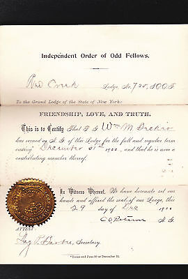 IOOF Independent Order of Odd Fellows 1900 Grand Lodge Degree- Red Creek NY