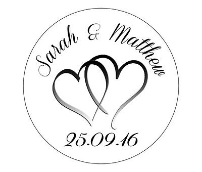 24 Personalised Round Wedding Stickers/Labels 3 FOR 2 Envelopes Seals Heart Ring