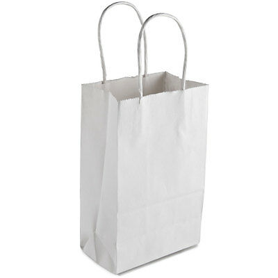 """White Paper Shopping Bag with Handles 5"""" x 3"""" x 8"""" - 250 / Bundle"""