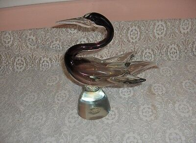 Vintage Murano Hand Blown Art Glass Purple Swan Figurine NICE
