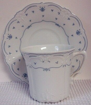 "Tirschenreuth FLEUR DI LIS 3"" Tall Cup with Saucer Set (s) BARONESSE, BLUE"