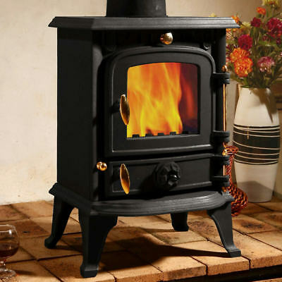 5.5 KW Cast Iron Burner Multifuel Wood Burning Stove Air Wash System Fast Ship