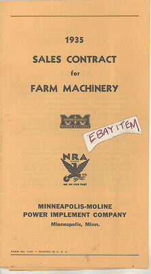 1935 FARM MACHINERY CONTRACT for MINNEAPOLIS MOLINE of Minnesota  Bonham Texas