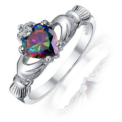 Mystic Rainbow Topaz Heart Claddagh Sterling Silver Ring - 9 mm - Sizes 3 - 13