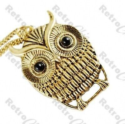 """CUTE RETRO OWL PENDANT antique gold plated 30""""LONG CHAIN NECKLACE vintage style"""