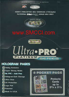 Box of 100 ULTRA PRO PLATINUM 8 Eight Pocket Pages for Baseball and Sports Cards