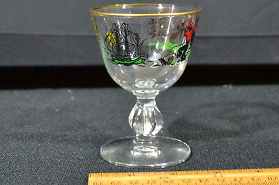 Vintage Hand Painted Glass Pilgrim Sailing Ship Indian Scene Gold Rim