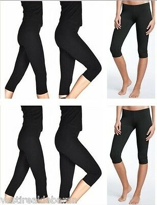Leggings Capri 3/4 Leggins LYRIS Pantacollant Nero A490 Tg S/M L/XL XXL