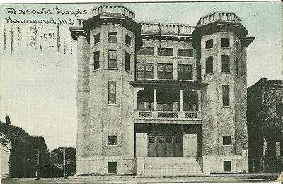 Hammond Indiana Masonic Temple Postcard Masons 1910