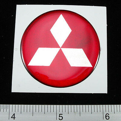 """MITSUBISHI Sticker Reflective Light Resin Decal 1.75"""" RED"""