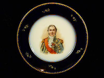 19Th Century Hand Painted French Porcelain Plate - Marshal Francois Lefebure