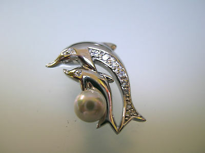 Handcrafted Rhodium Sterling Silver Mother and Child dolphin play pearl pendant