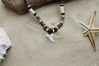 PACK OF 10 WHOLESALE GENUINE SHARK TOOTH NECKLACES SURF beach teeth / n187avi