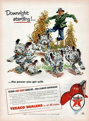 1955 Texaco PRINT AD Vintage Fall Art Dalmatian Puppies Scarecrow Corn Halloween