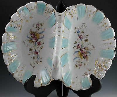 "Large 12 1/4"" KPM Hand Painted Divided German Serving Dish - Beautiful"