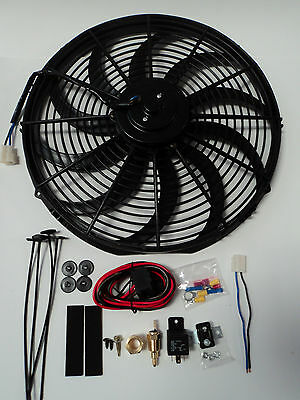 """16"""" Electric Fan 3000 CFM + Wiring Install Kit Complete Thermostat 50 Amp Relay"""