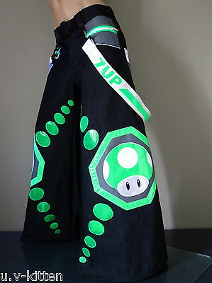 Schminke clothing Mushroom Phat pants reflective Uv neon dance rave 7up fluoro