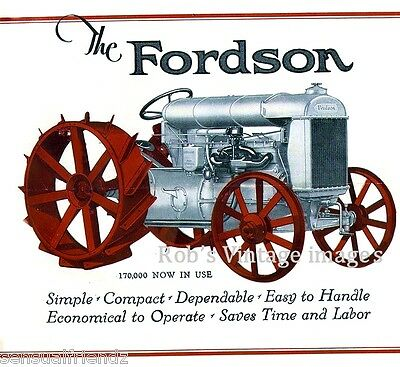 Ford Fordson Antique Vinrtage Farm Tractor Poster Ad 1920-1925