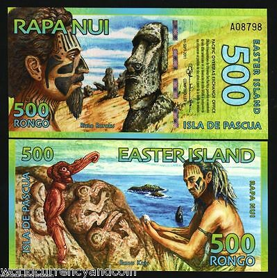Easter Islands 500 Rongo New 2011 Dolphin Polymer Unc Bill Note Money