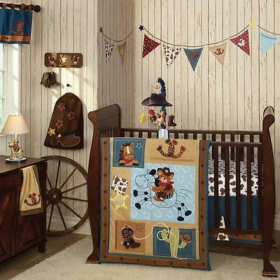 Blue and Brown Cowboy Western Themed 5pc Baby Boy Cheap Nursery Crib Bedding Set