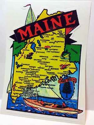 Maine Vintage Style Travel Decal / Vinyl Sticker, Luggage Label