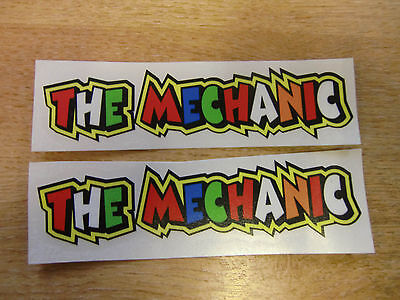 "Valentino Rossi style text - ""THE MECHANIC""  x2 stickers / decals  - 5in x 1in"