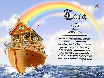 """Noah's Ark"" Name Meaning Prints Personalized (Children's Room Religious)"