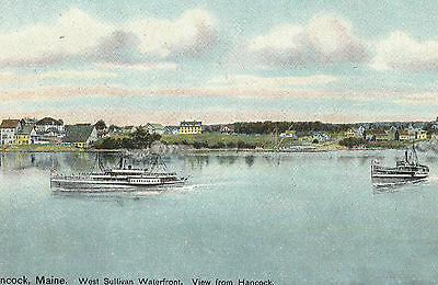 West Sullivan Waterfront from Hancock Maine Boats Vintage Postcard