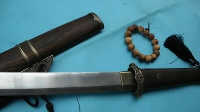 Tang dao Sword Medium carbon steel blade Rosewood scabbard Alloy Knife fitted