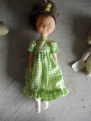 "Vintage 1974 Plastic Brown Hair Holly Hobbie Character Girl Doll 10"" Tall"