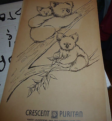 1950s Crescent Puritan Laundry & Dry Cleaners cardstock ad-  Koala Bears