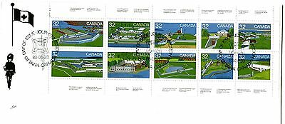 Canada 992a Historic Forts booklet pane of 10, NR-covers-, FDC
