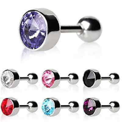 Tragus / Cartilage Bar with Faceted Swarovski Crystal Elements in Bezel Setting