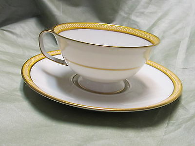 A. RAYNAUD LIMOGES CERALENE LAURIER YELLOW CUP AND SAUCER
