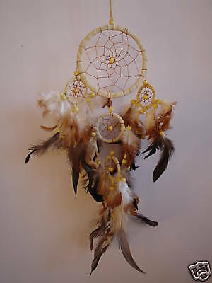 LARGE 5 RING AMERICAN DREAM CATCHER CREAM SUEDE LEATHER BNIP / dcle16tricre