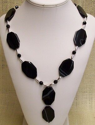 Necklace Black Banded Agate Flat Stones with Black Agate and Silver Plate Beads