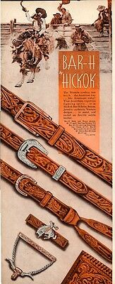 1944 Hickok PRINT AD Bar-H Western Cowboy Style Belts Tie Bar Chain