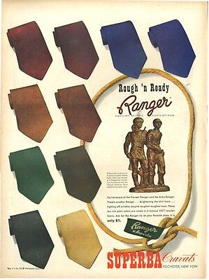 1944 Superba PRINT AD Cravats Ranger Fashion Ties feat. Pioneer & Army Rangers