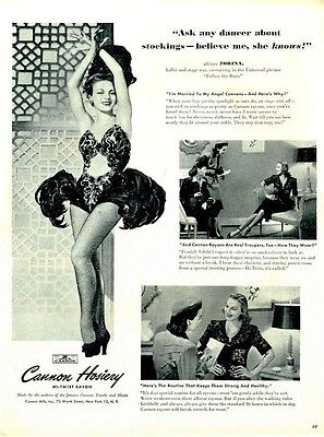 1944 Cannon Hosiery PRINT AD Features: Ballet star Zorina Follow the Boys