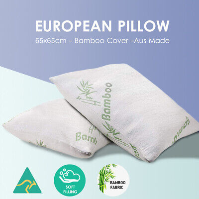 2x Aus Made Euro European Pillow Bamboo Plush Hypoallergenic Cover Back Support