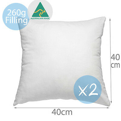 2 x Aus Made New Premium Cushion Inserts Polyester Fibre 40x40CM