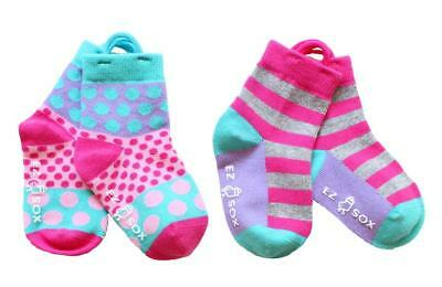 Dots & Stripes EZ SOX Socks ~ 2 Pairs Age 3-5 Yrs ~ 'I Can Do It' learning socks