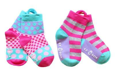 Girls Polka Dots & Stripes Socks - 2 Pairs, Age 3 - 5 Years by EZ SOX